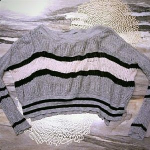 {Free People} Slouchy Cropped Knit Stripe Sweater